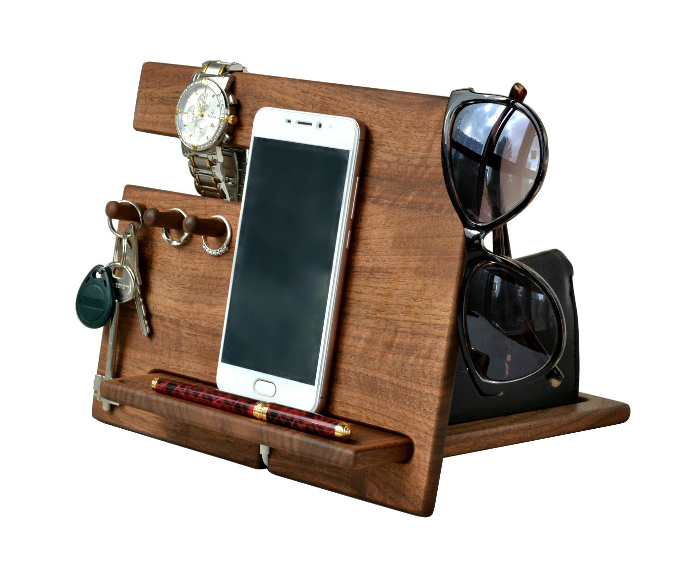 Wood Phone Docking Station Walnut Desk Organizer Tablet Holder Key Hooks Coin