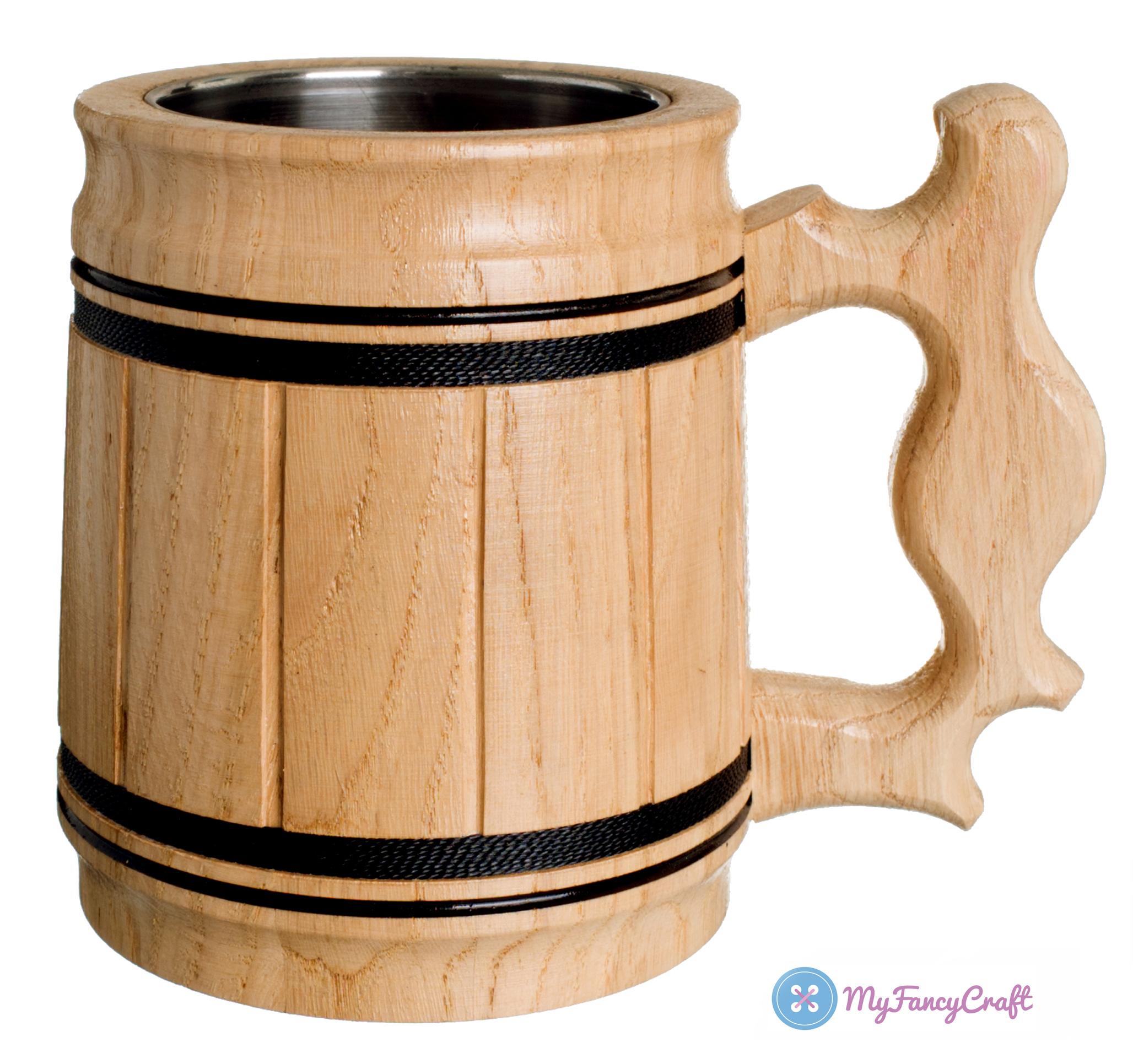 Buy Handmade Beer Mug Oak Wood Stainless Steel Cup Gift Natural Eco