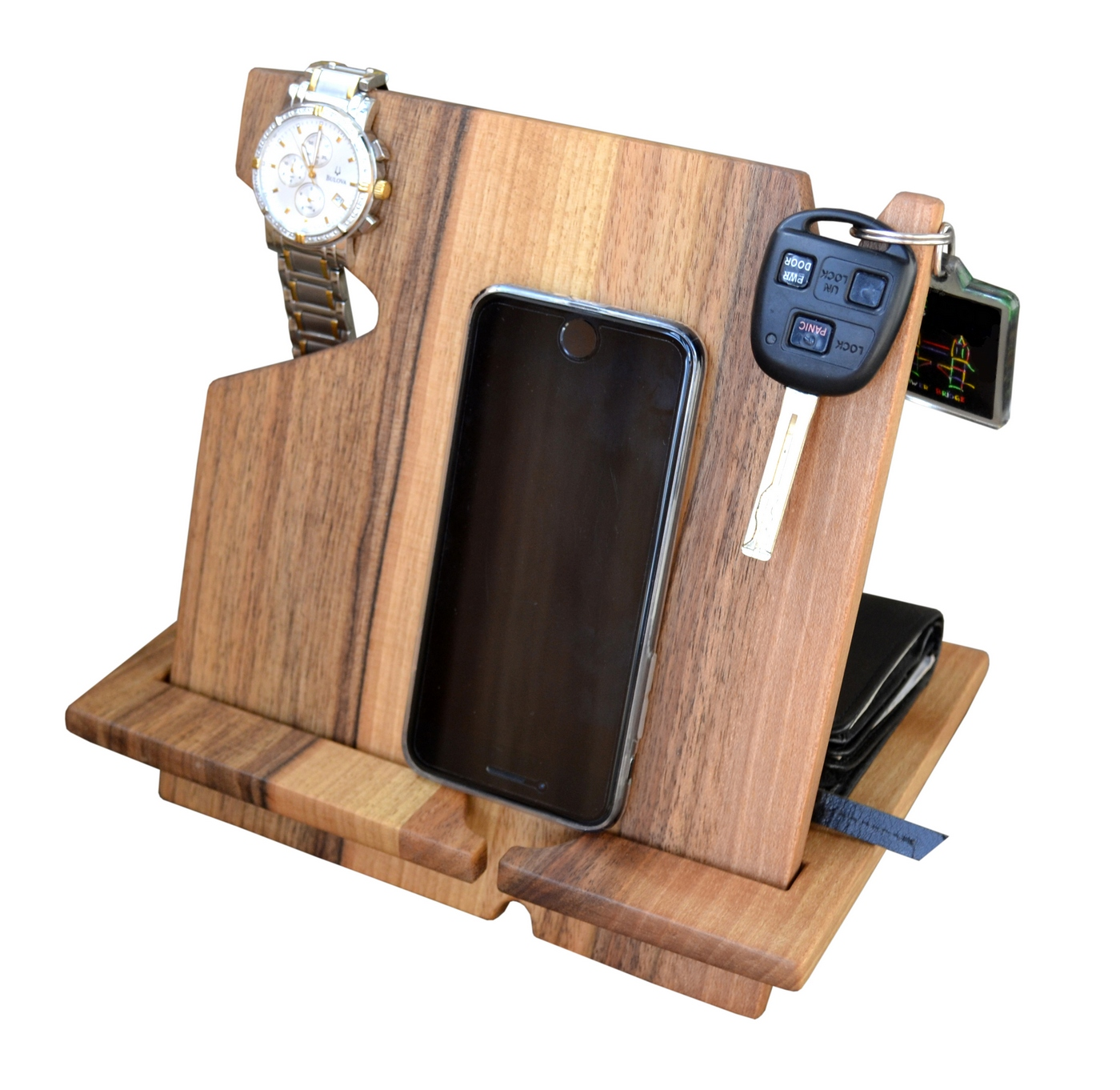 Buy Wood Phone Docking Station Walnut Desk Organizer