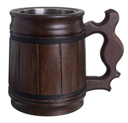 Buy Handmade Beer Mug Set Of 6 Oak Wood Stainless Steel Cup Gift